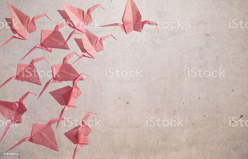 Red Color Origami Cranes ( Dreamy Look ) stock photo