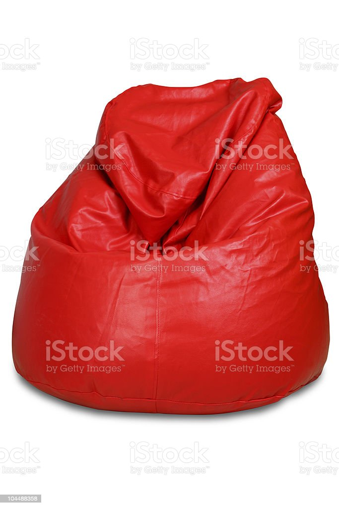 Red colored bean bag isolated on white background stock photo