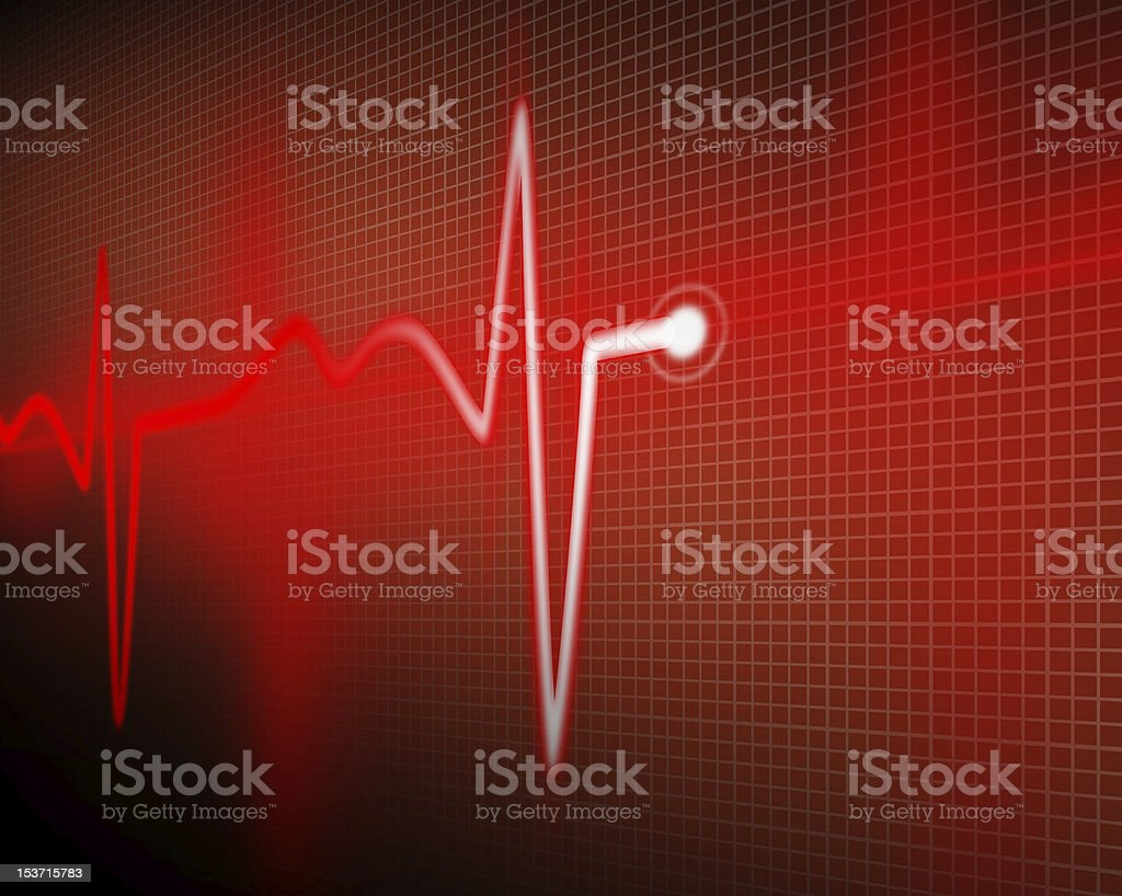 Red colored electrocardiograph with perspective stock photo