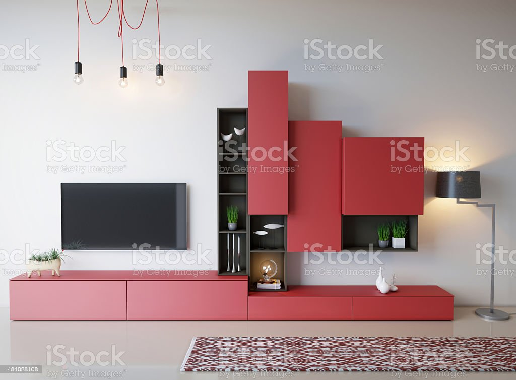 Red Colors Living Room stock photo