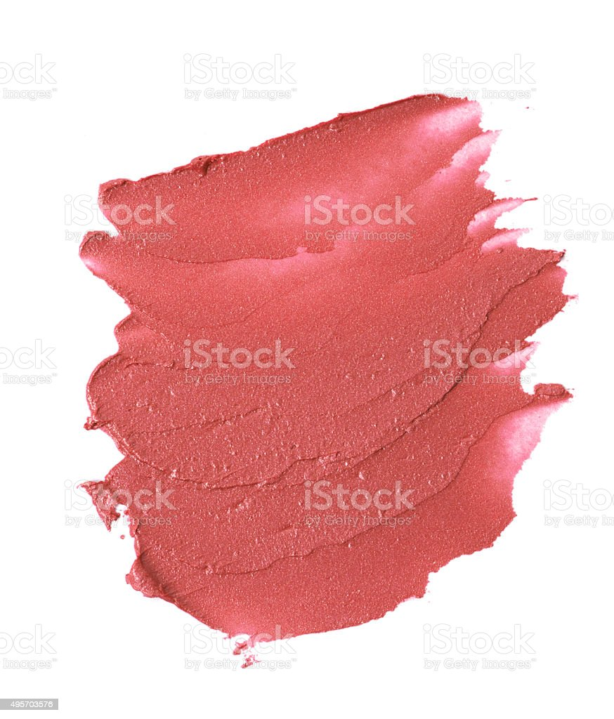 Red colour lipstick stroke on white background stock photo