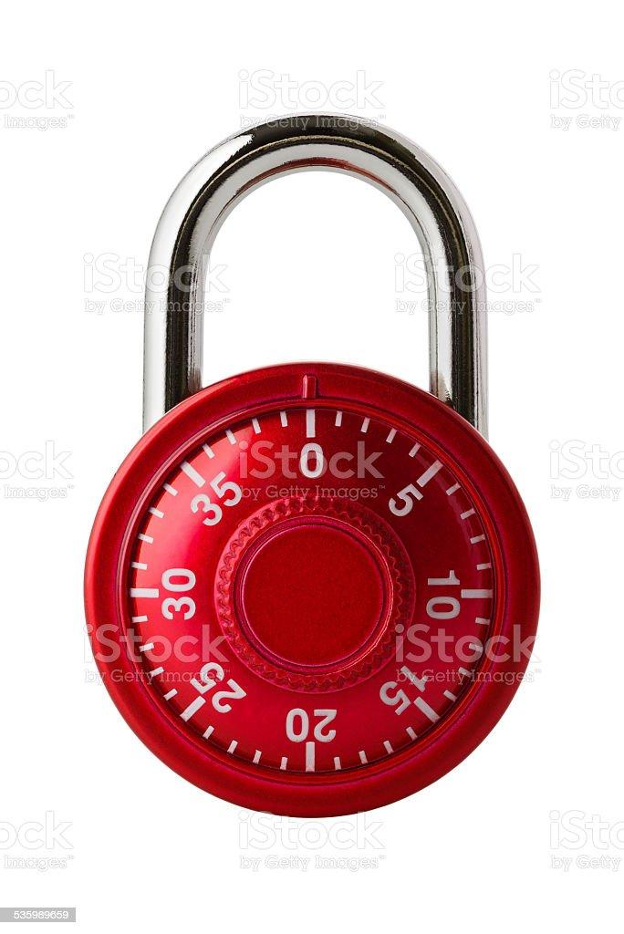 Red combination lock stock photo