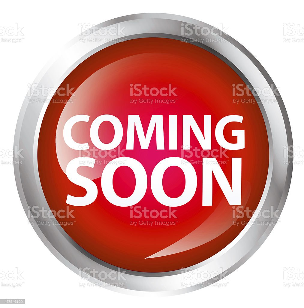 A red coming soon button design stock photo
