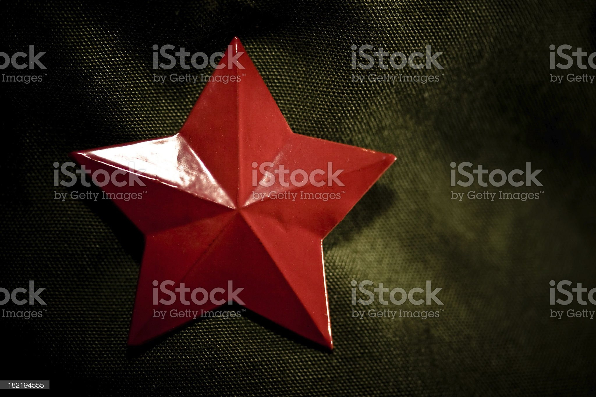 Red Communist Star on Green Military Cap royalty-free stock photo