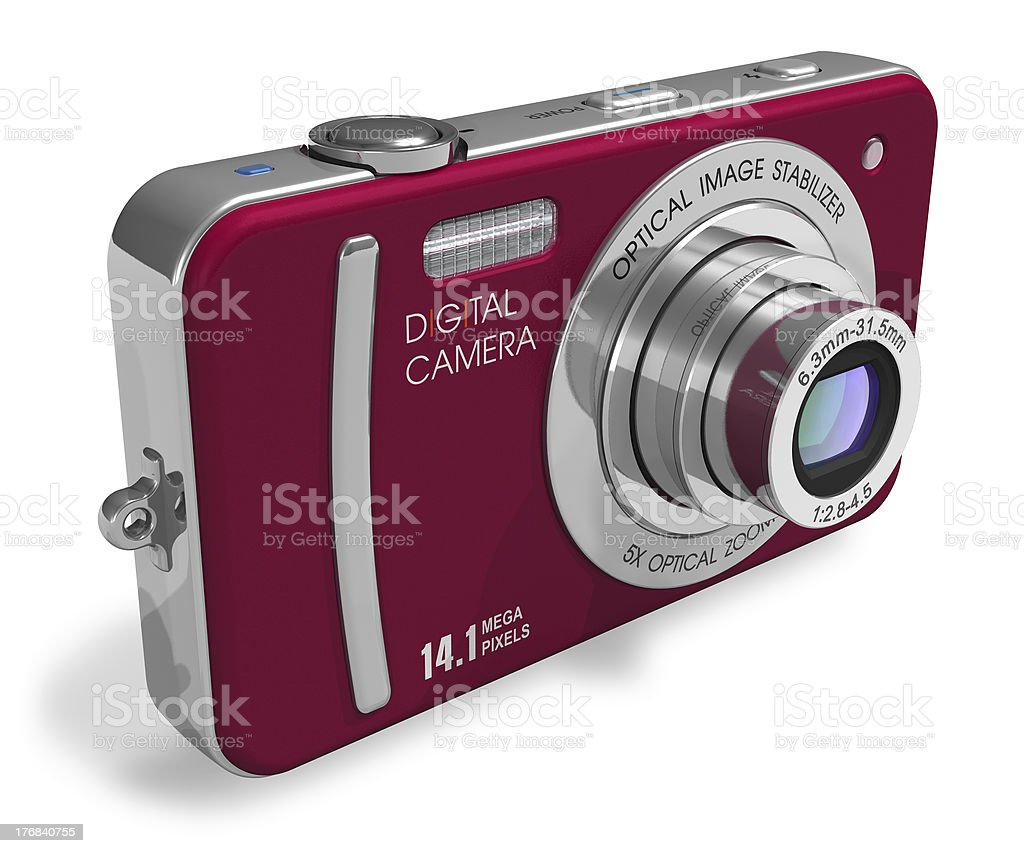 Red compact digital camera stock photo