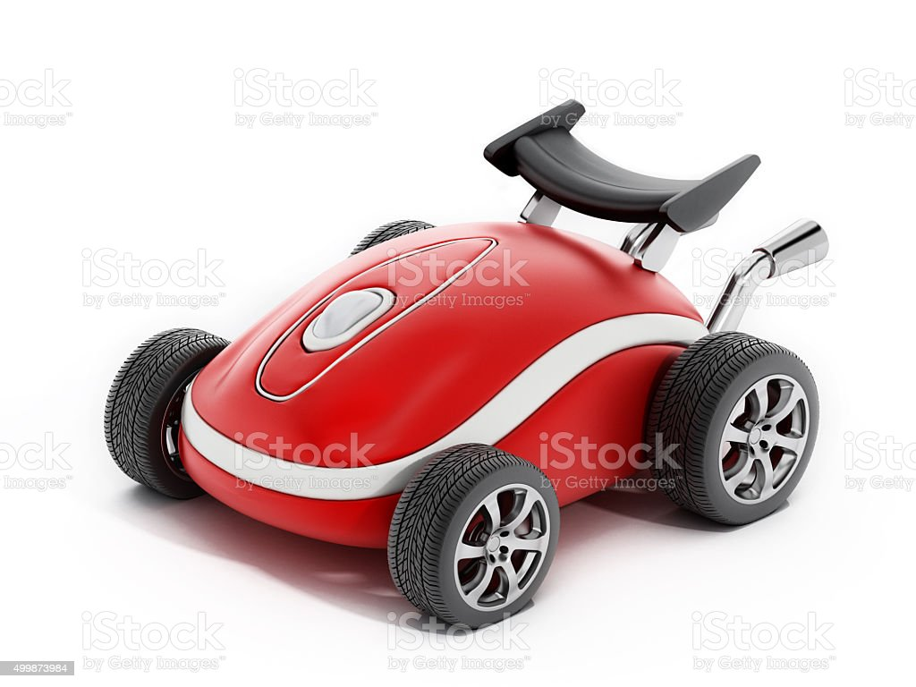 Red computer mouse with wheels stock photo