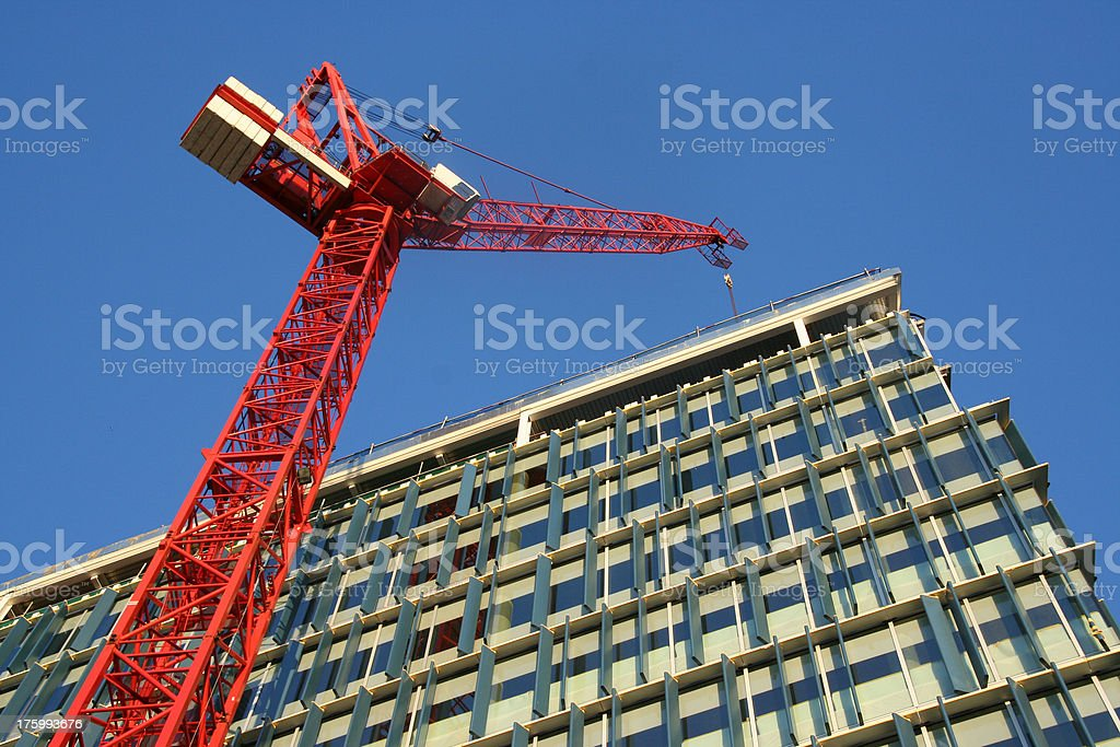 Red Construction Crane stock photo