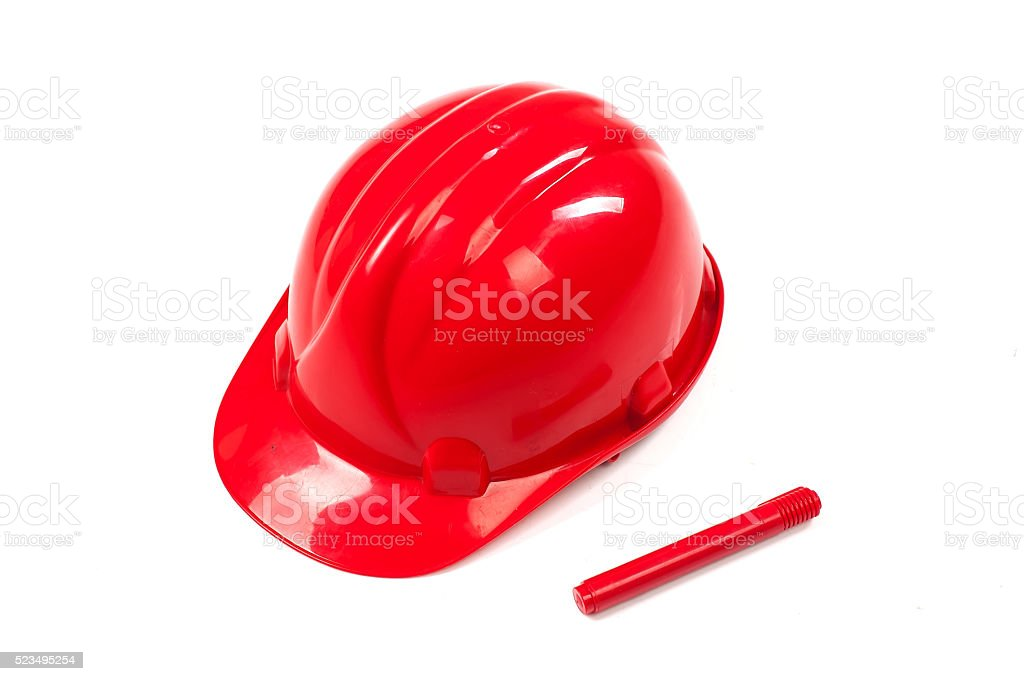Red construction helmet shot isolated on white stock photo
