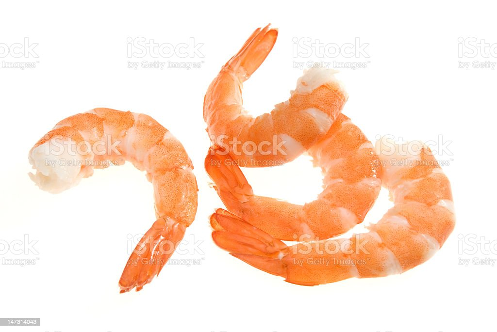 Red cooked shrimps with no head on white background royalty-free stock photo