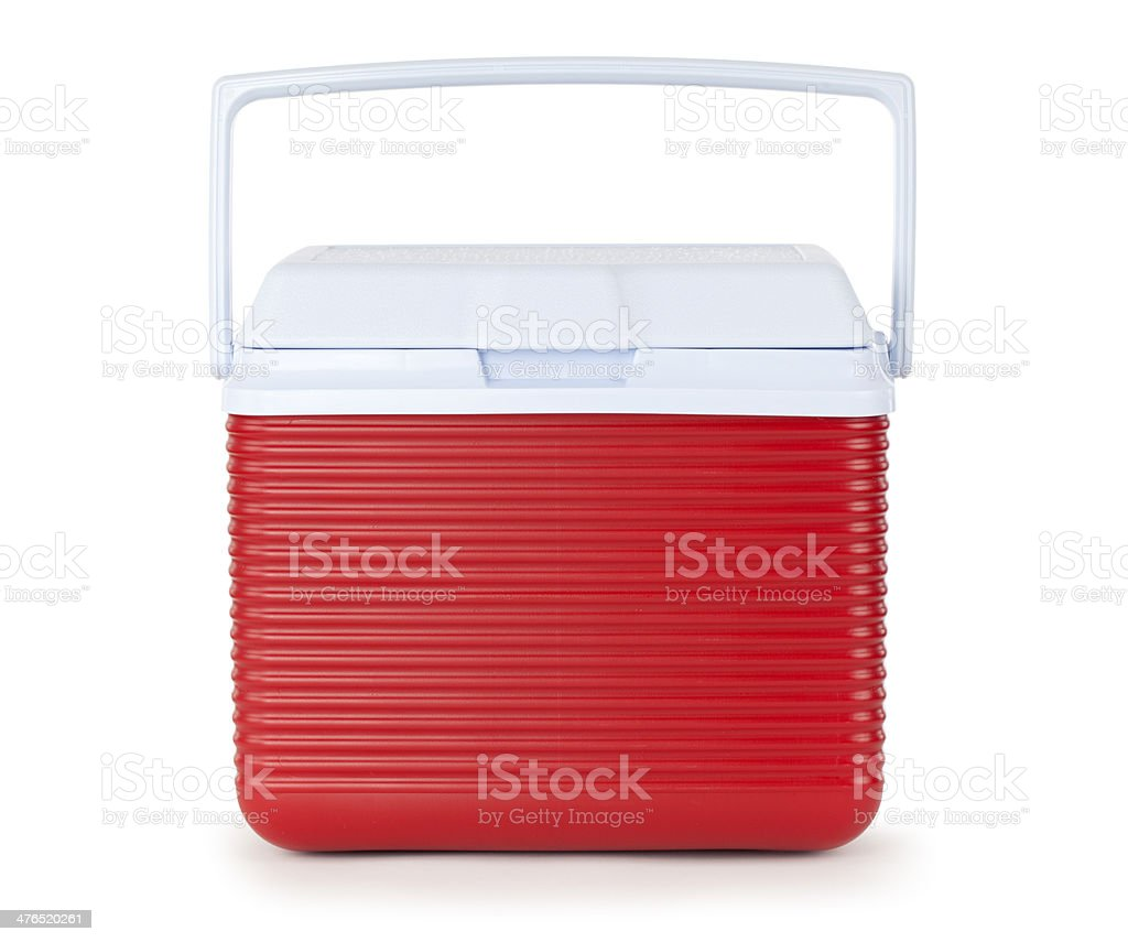 Red Cooler Isolated on White stock photo