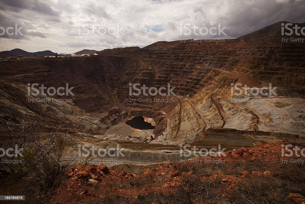 Red copper open pit mine stock photo