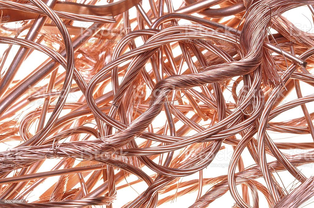 Red copper wire stock photo