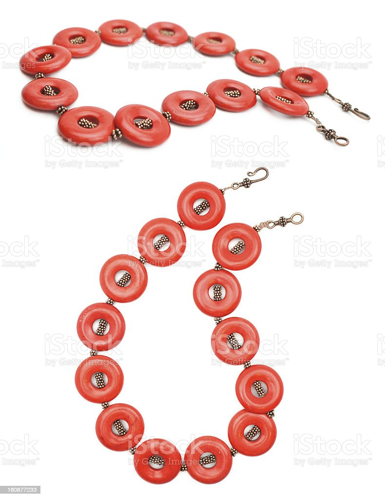 Red Coral and Copper Gemstone Jewelry royalty-free stock photo