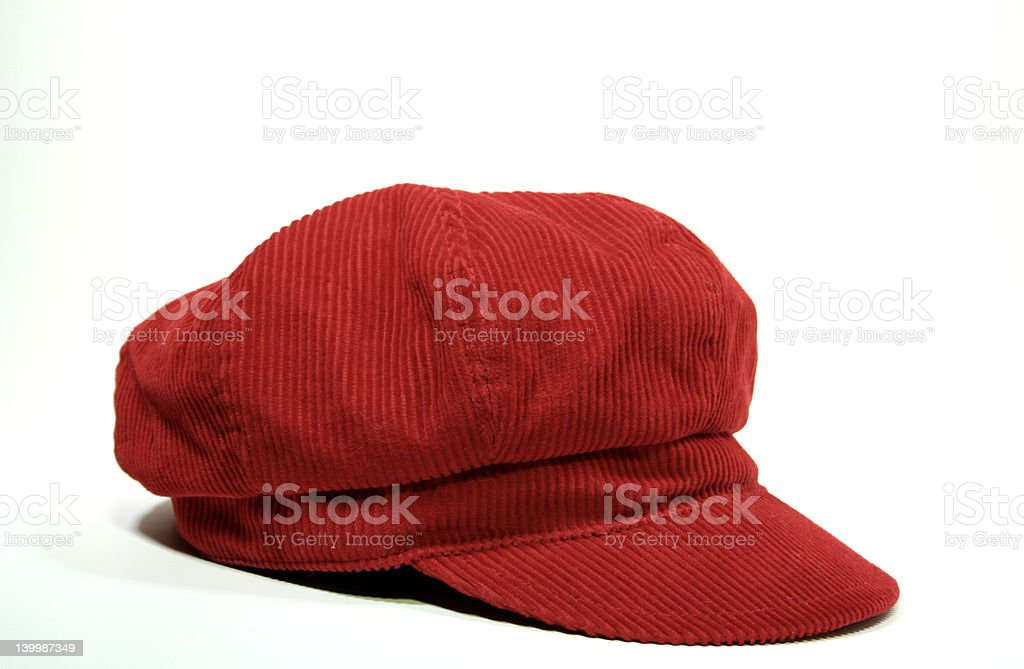 red corduroy hat stock photo