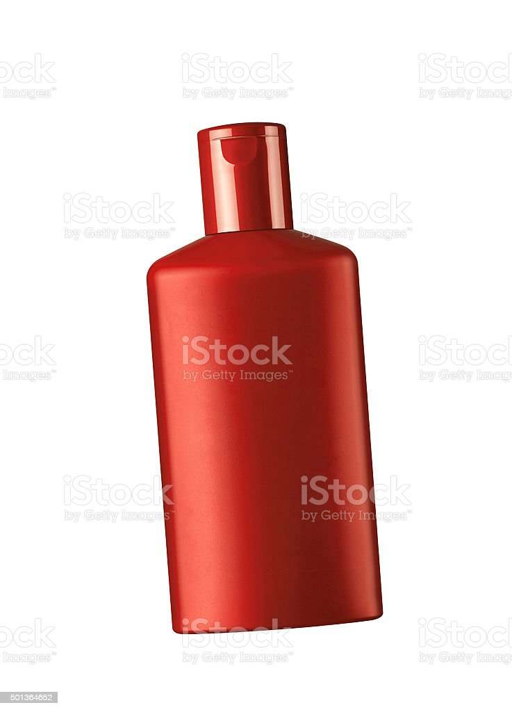 red cosmetic bottle isolated on the white stock photo
