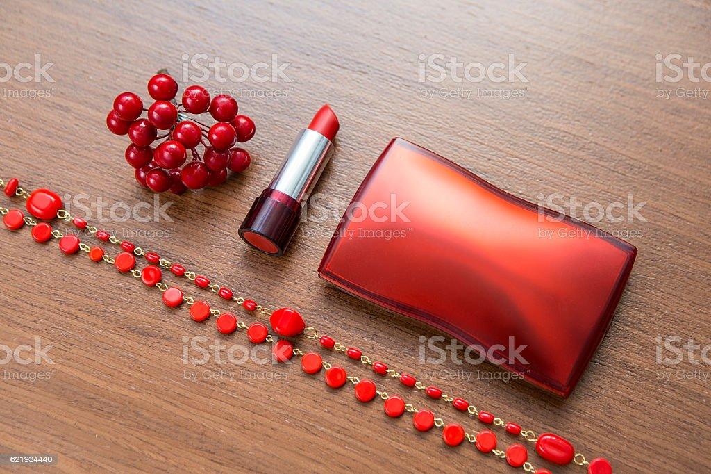 red cosmetics accessories stock photo
