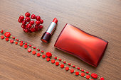 red cosmetics accessories