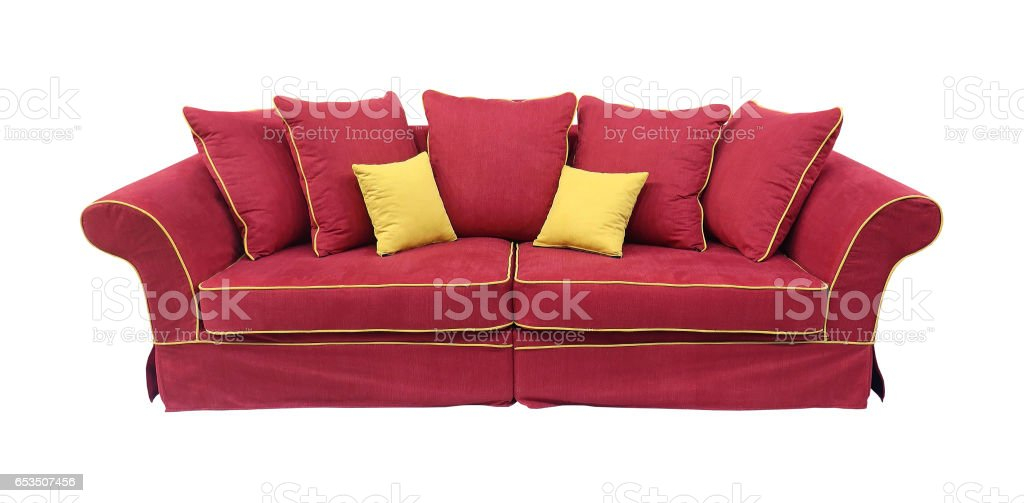 Red couch isolated stock photo