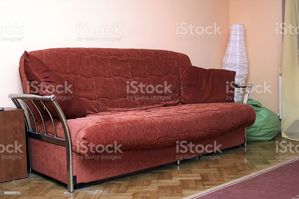 Red couch stock photo
