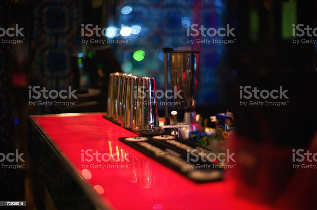 Red counter in a bar stock photo