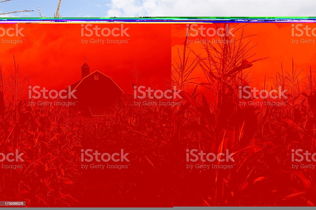 Red county barn in the distance royalty-free stock photo