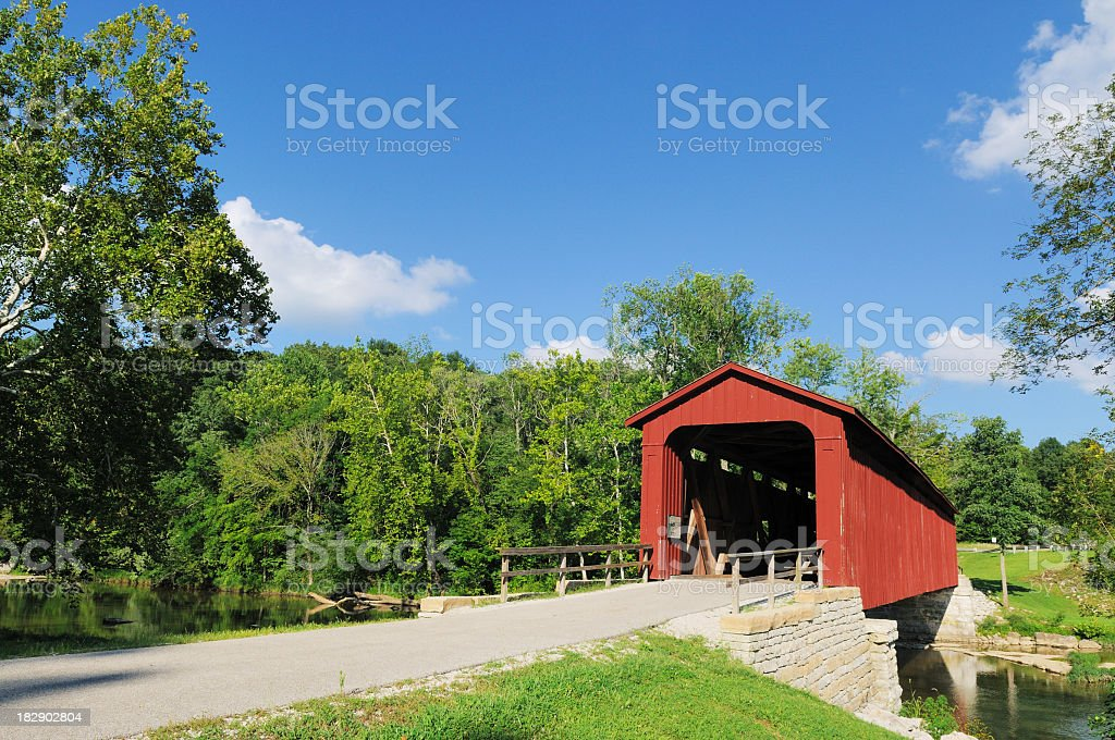 Red covered bridge in Cataract Falls State Park Indiana royalty-free stock photo