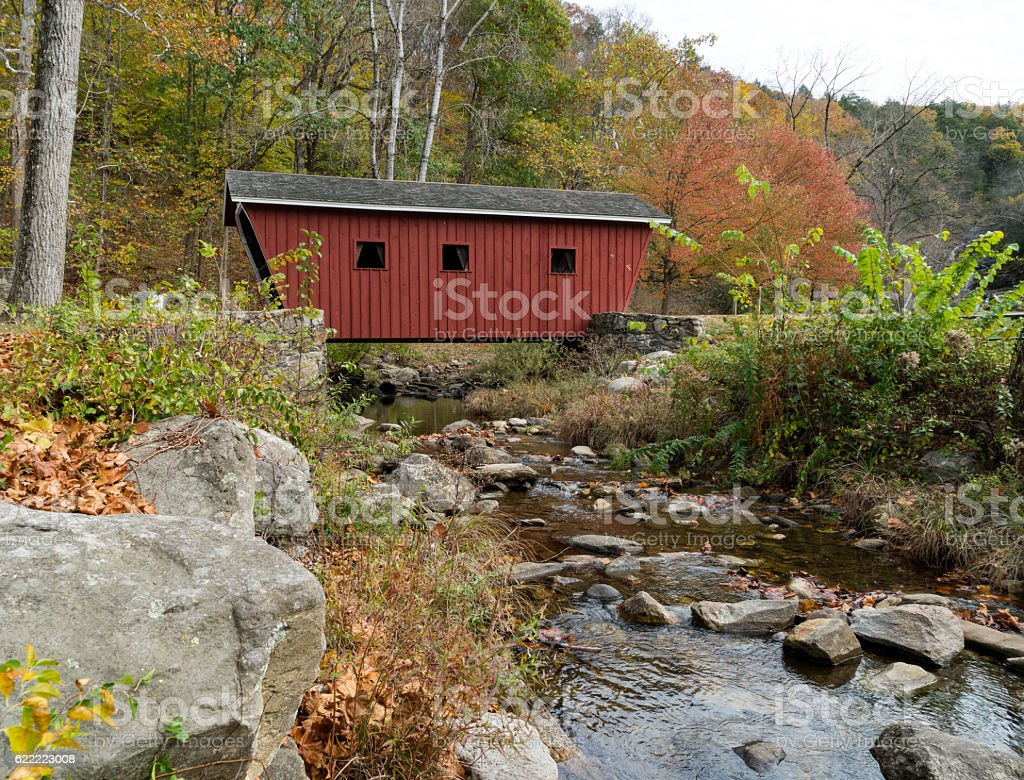 Red Covered Bridge in Fall stock photo