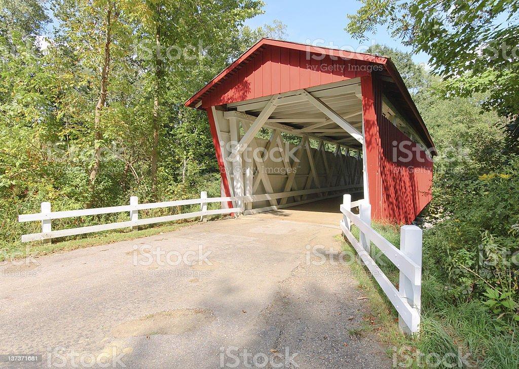 Red covered bridge on Everett road stock photo