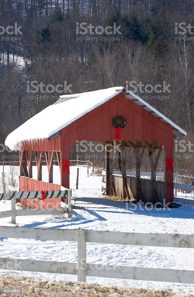 Red Covered Bridge royalty-free stock photo