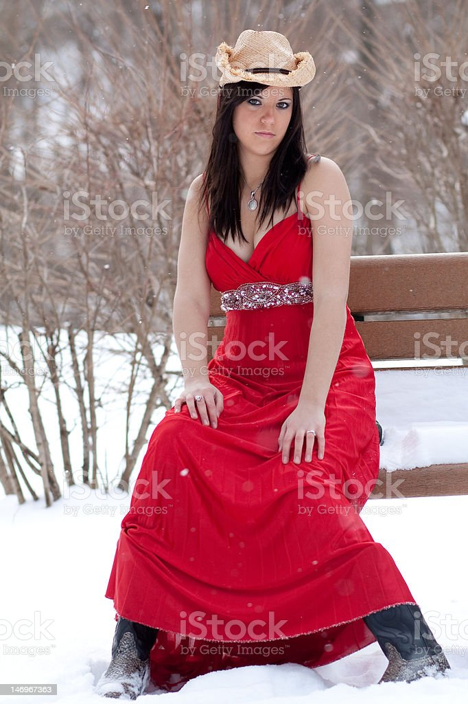 Red Cowgirl royalty-free stock photo