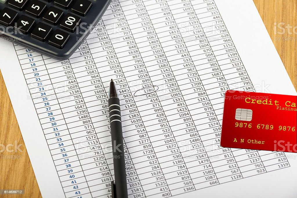 Red credit card laying on a spreadsheet with a calculator stock photo