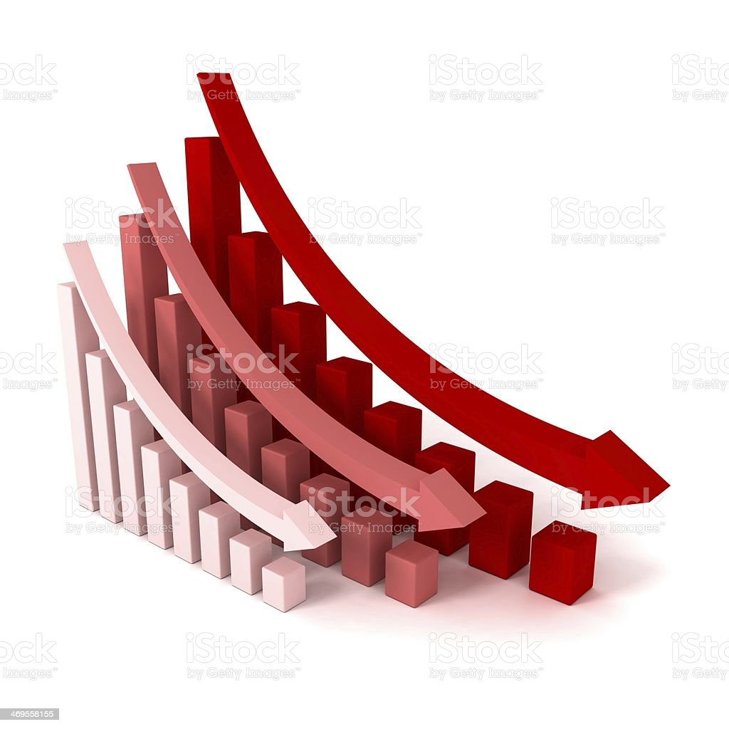 Red Crisis Business Graphs with Falling Arrows stock photo