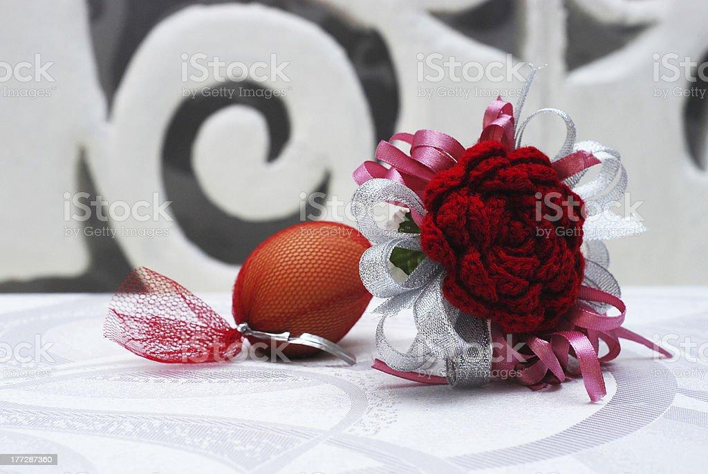 Red Crochet Flower royalty-free stock photo
