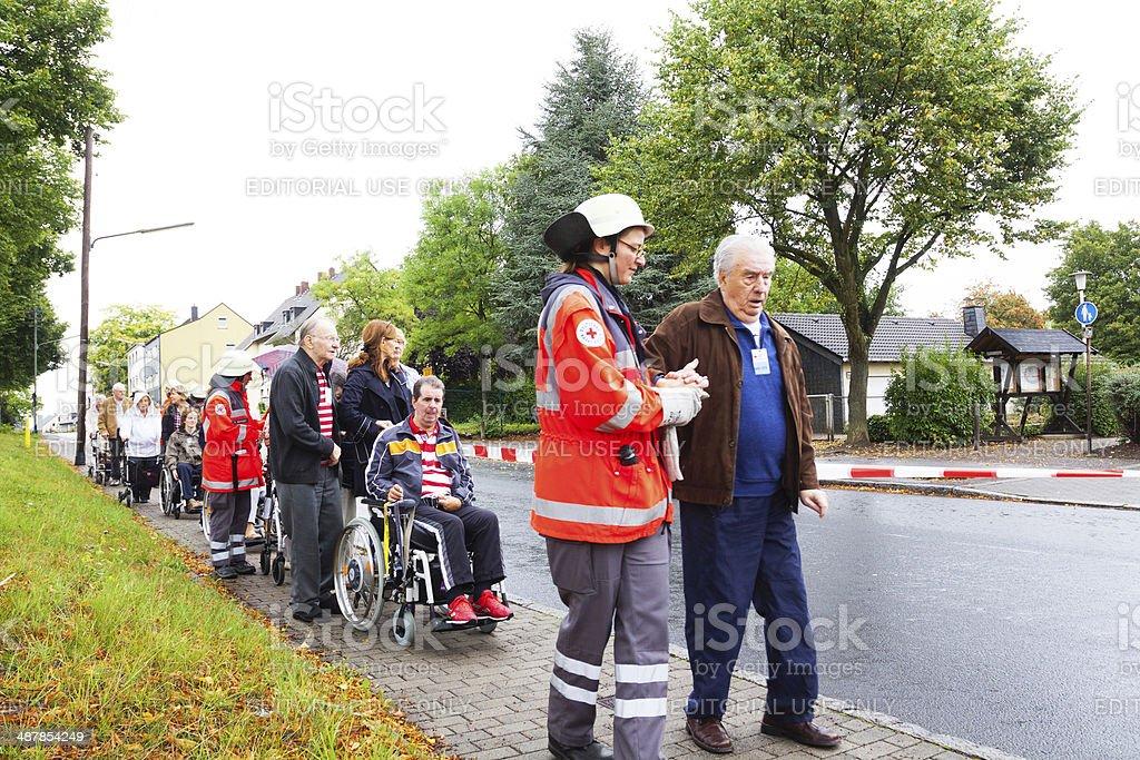 Red Cross evacuation training stock photo