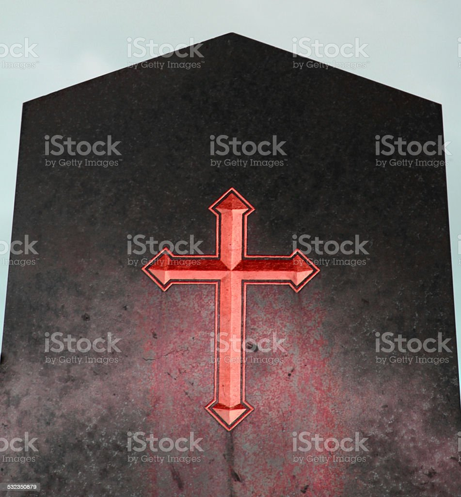 Red Cross on black plaque of hell stock photo