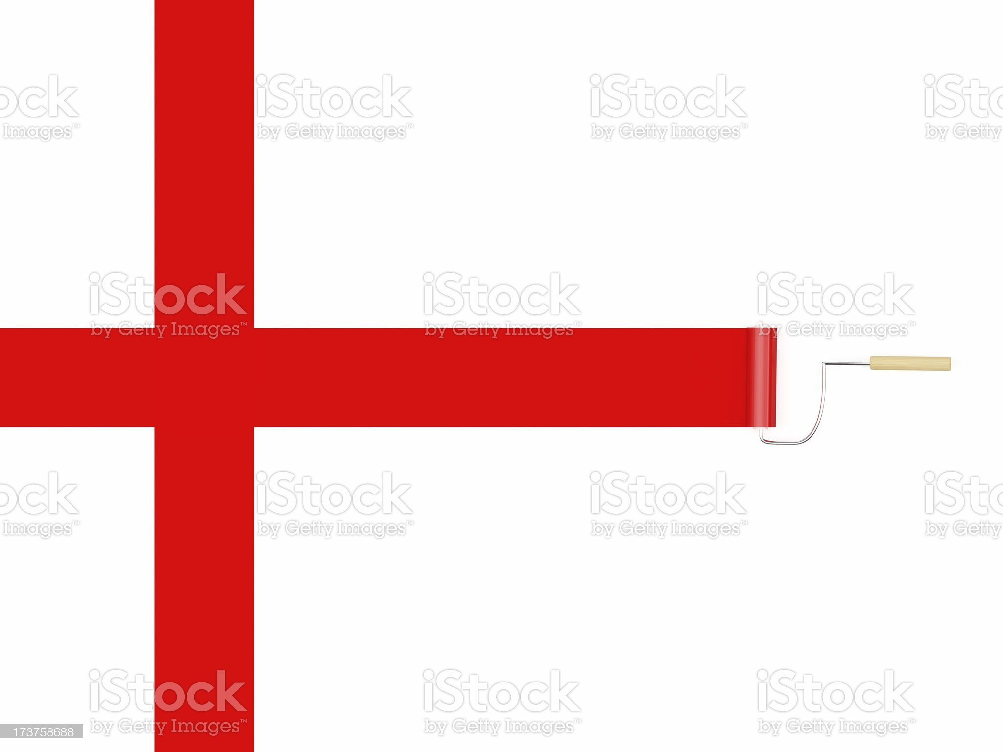 3D Red Cross Paint roller royalty-free stock photo
