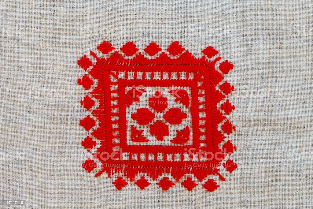red crosses embroidered pattern in national style stock photo