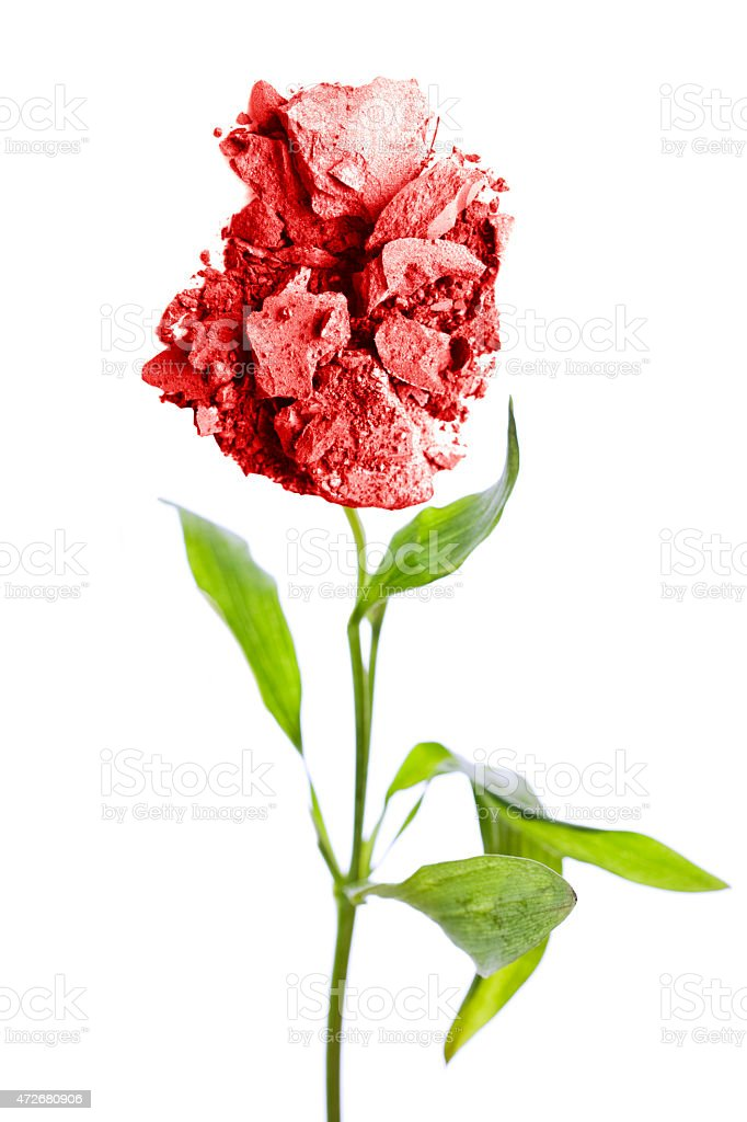 Red Crushed Makeup Flower stock photo