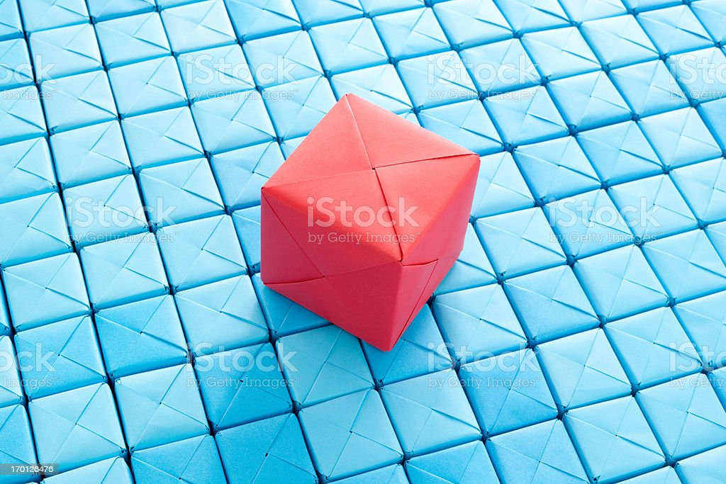 Red cube over blue ones royalty-free stock photo