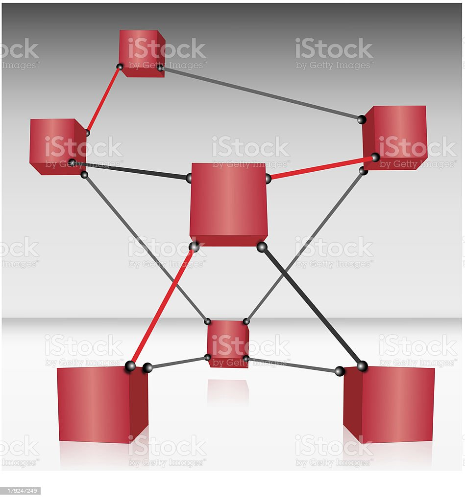 Red Cubes Connected royalty-free stock photo