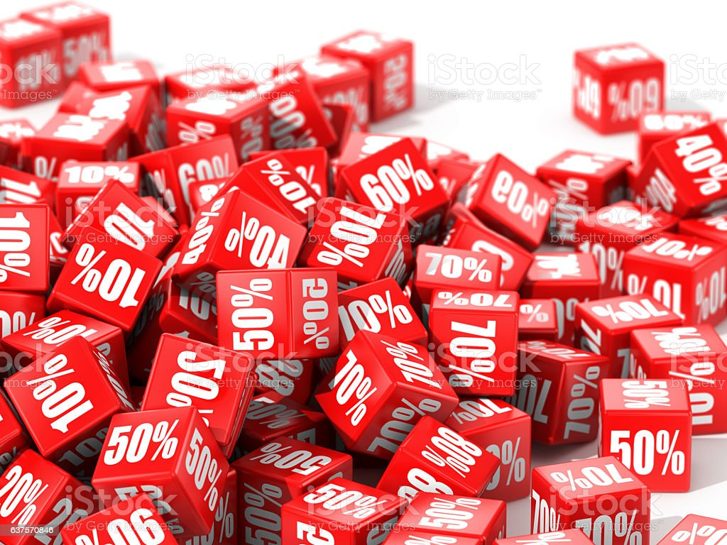 Red cubes with percent in focus stock photo