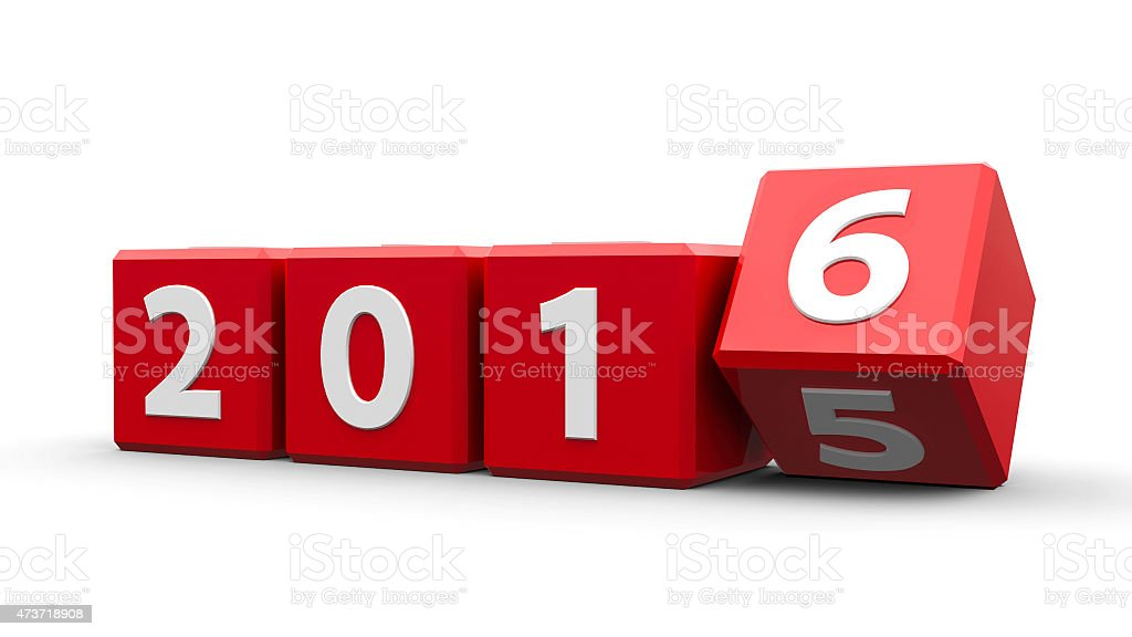 Red cubes with white numbers spelling 2016 stock photo
