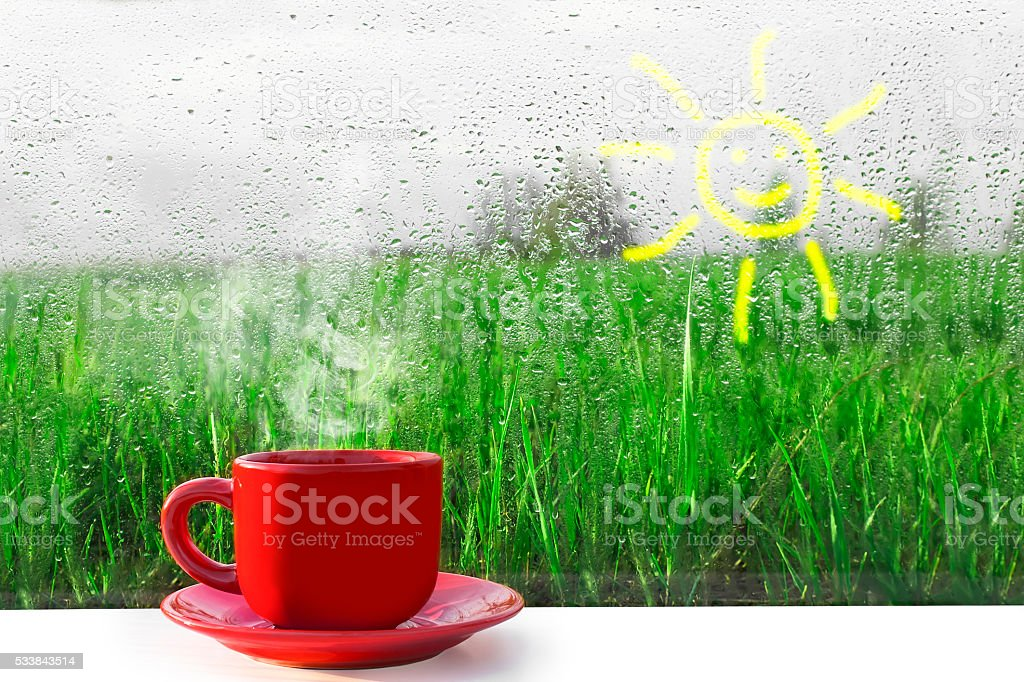 Red Cup of hot coffee on the table stock photo