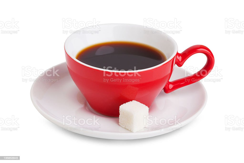 Red cup withcoffee and a slice of white sugar royalty-free stock photo