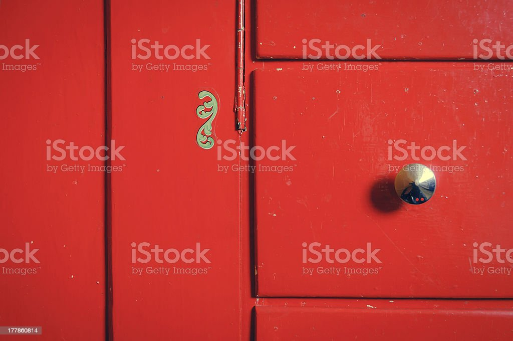 Red cupboard stock photo