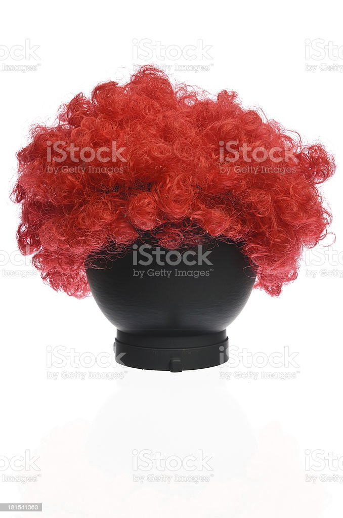 Red Curly Clown Wig stock photo