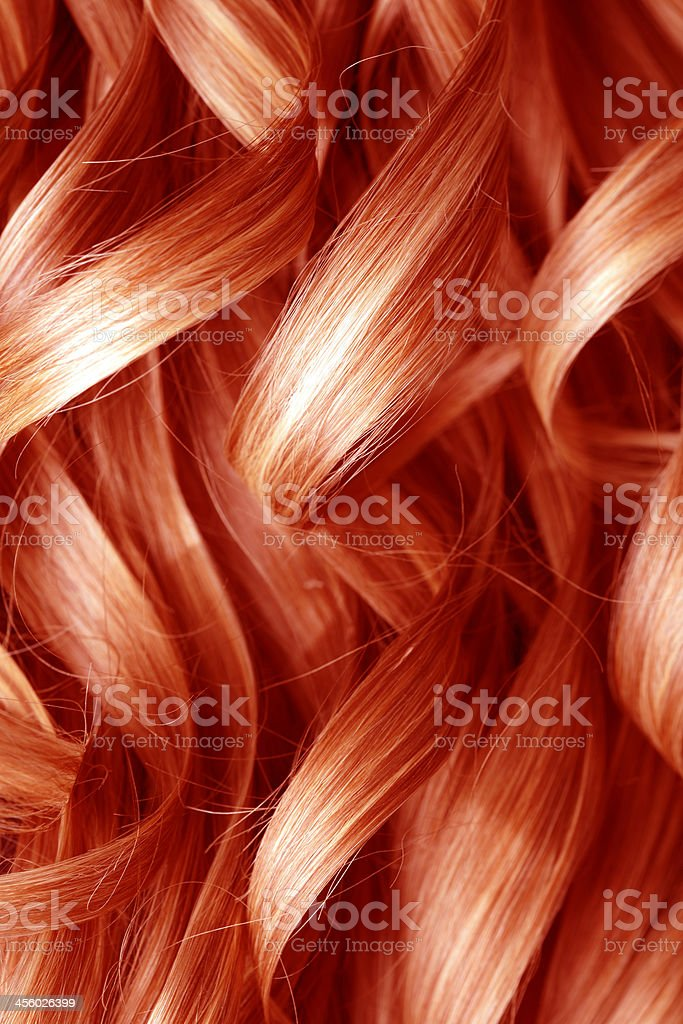 Red Curly Hair Background stock photo