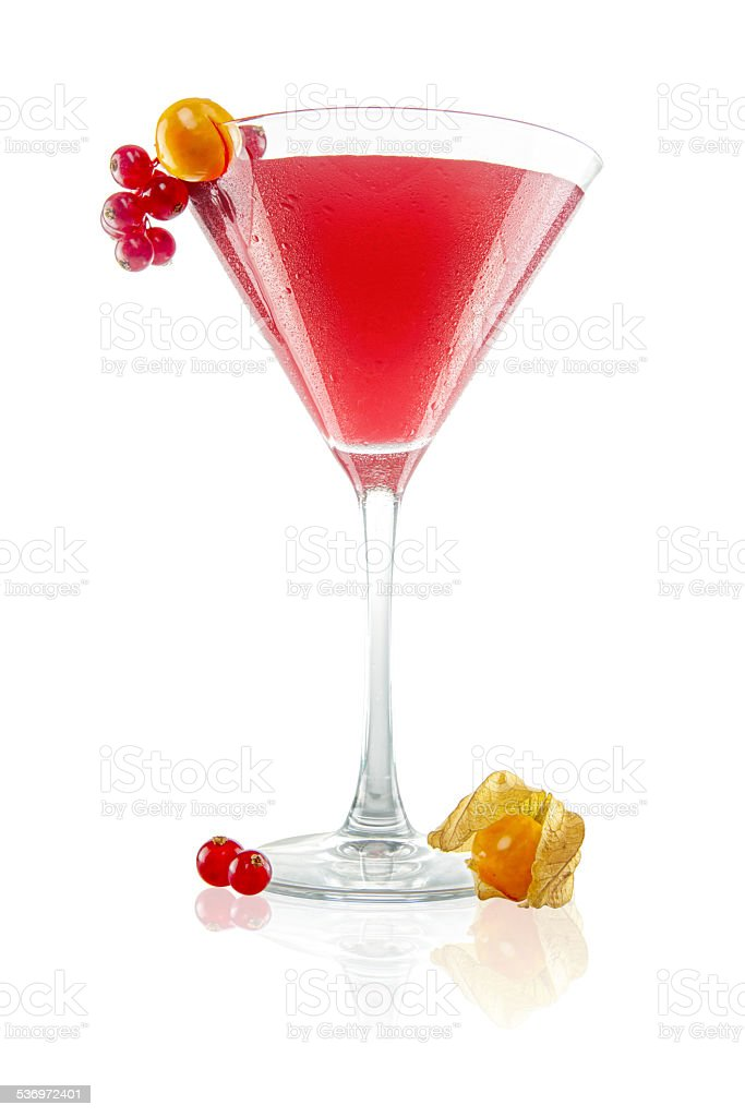 Red Currant and Cape Gooseberry Gimlet stock photo