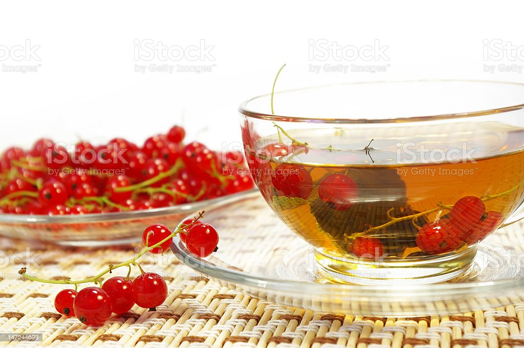 Red currant and herbal tea royalty-free stock photo