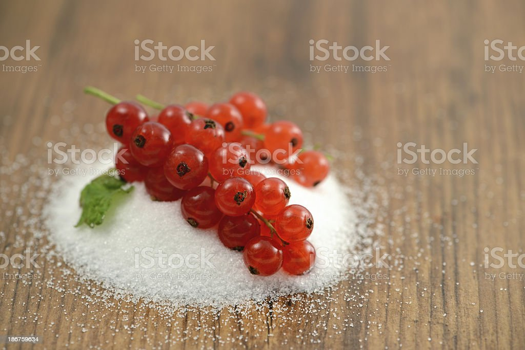 red currant bunch at suggar stock photo